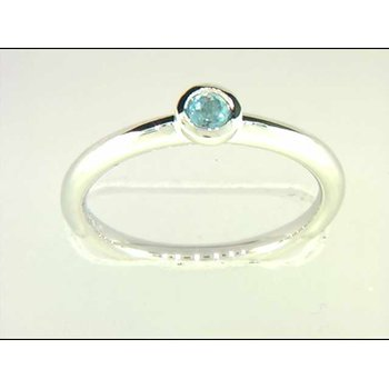 14k White Gold Colored Stone Ring