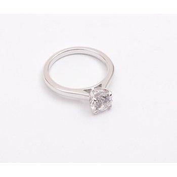 14k White Gold Cubic Zirconia Semi Mount Ring