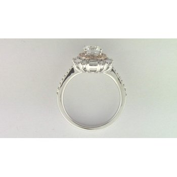 Ladies' 14k White Gold 6 Mm CZ Stone Ring