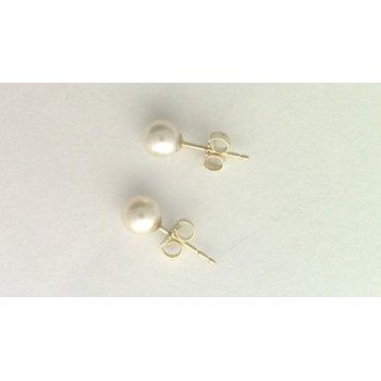 14k Yellow Gold Akoya Cultured Pearl Earrings