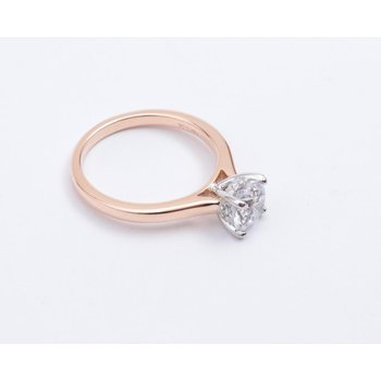 14k White And Rose Gold Cubic Zirconia Semi Mount Ring