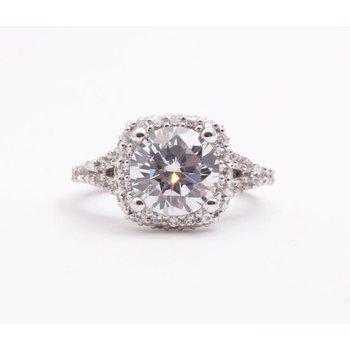 Ladies' 14k White Gold 8.5mm CZ Ring