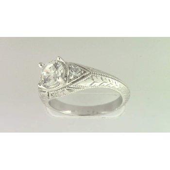 Ladies' 14k White Gold 6 Mm CZ Ring