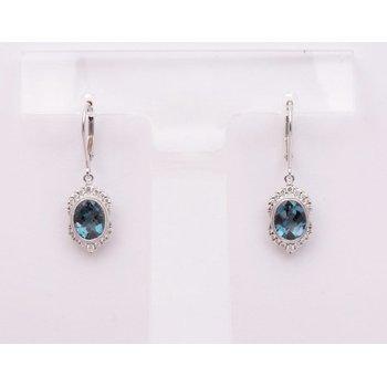 14k White Gold London Blue Topaz Earrings