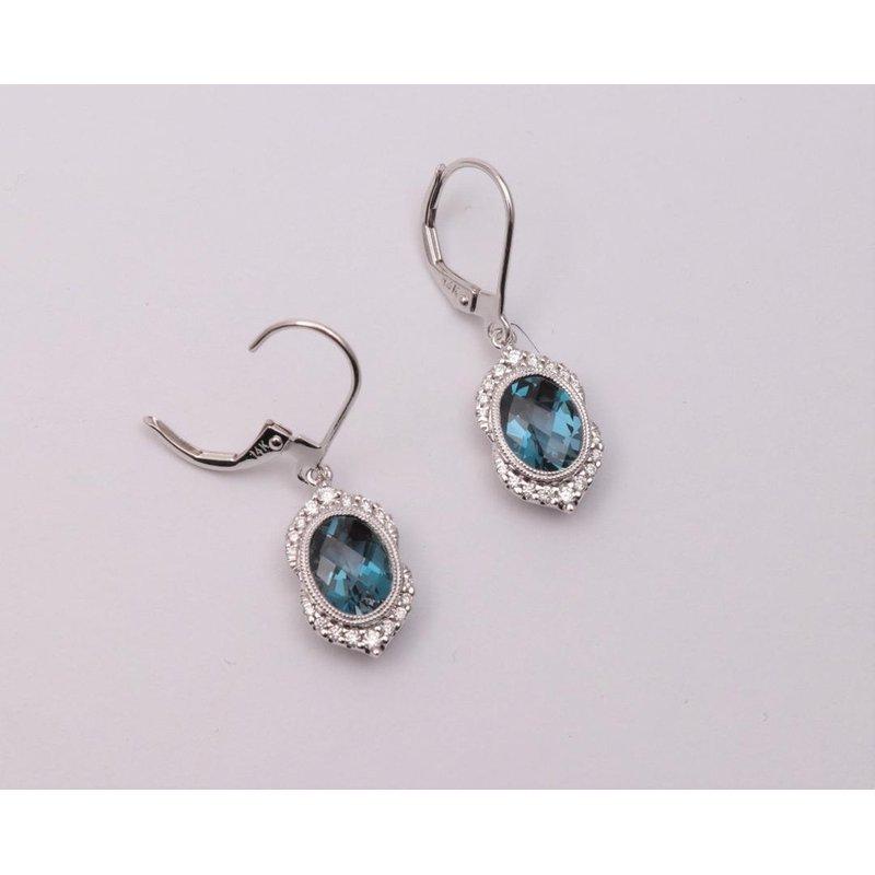 Allison-Kaufman 14k White Gold London Blue Topaz Earrings