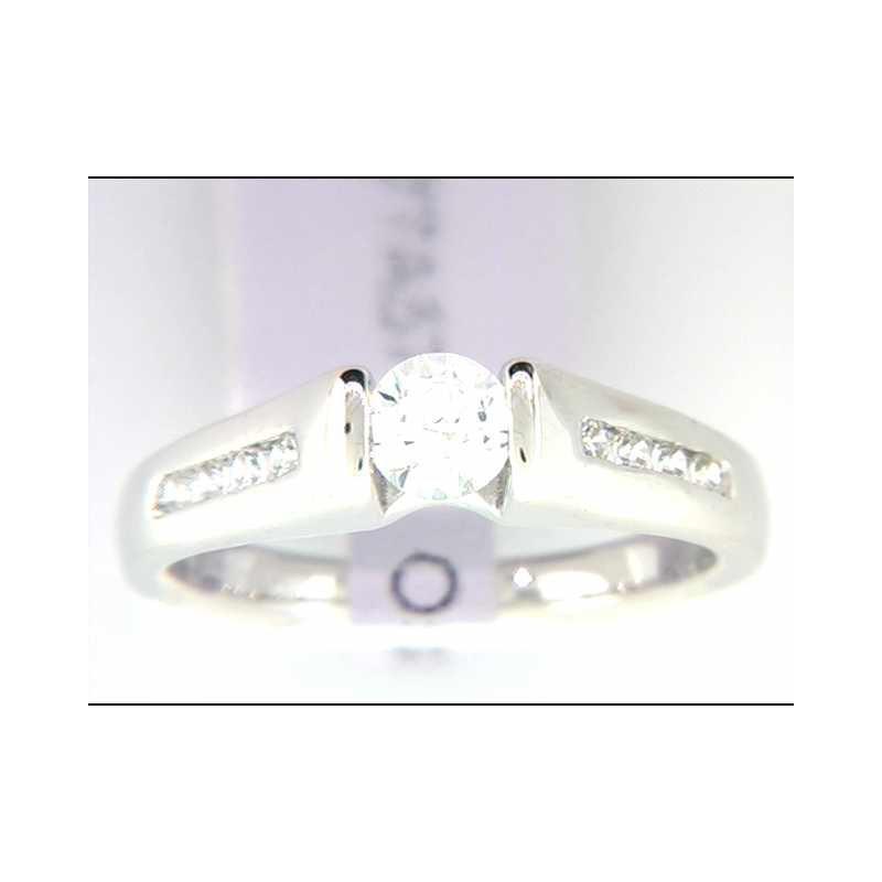 Ostbye Ladies' 14k White Gold CZ Stone Ring