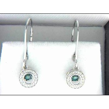 Ladies' 14k White Gold Blue Diamond Earrings