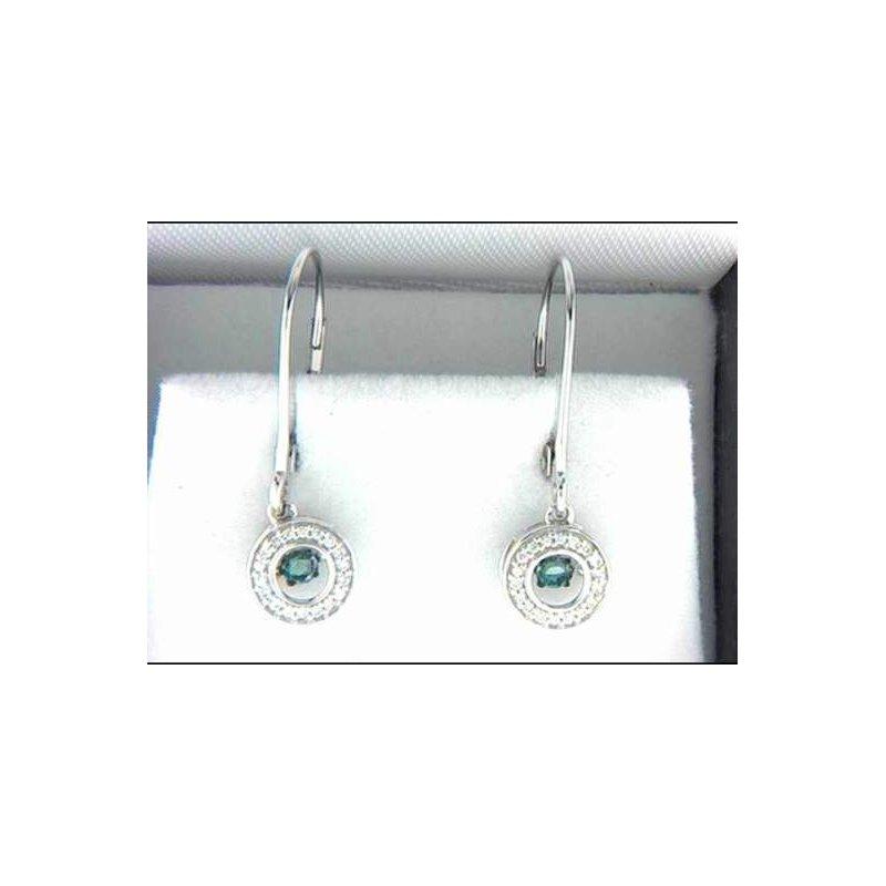 Ostbye Ladies' 14k White Gold Blue Diamond Earrings
