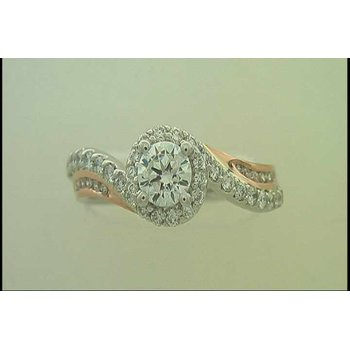 Ladies' 14k White And Rose Gold 5 Mm CZ Ring