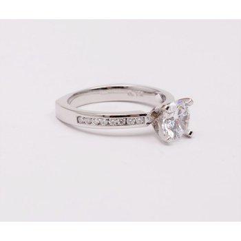 14k White Gold Cz Stone Semi Mount Ring