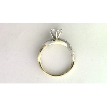 14k White And Yellow Gold 6 Mm CZ Ring