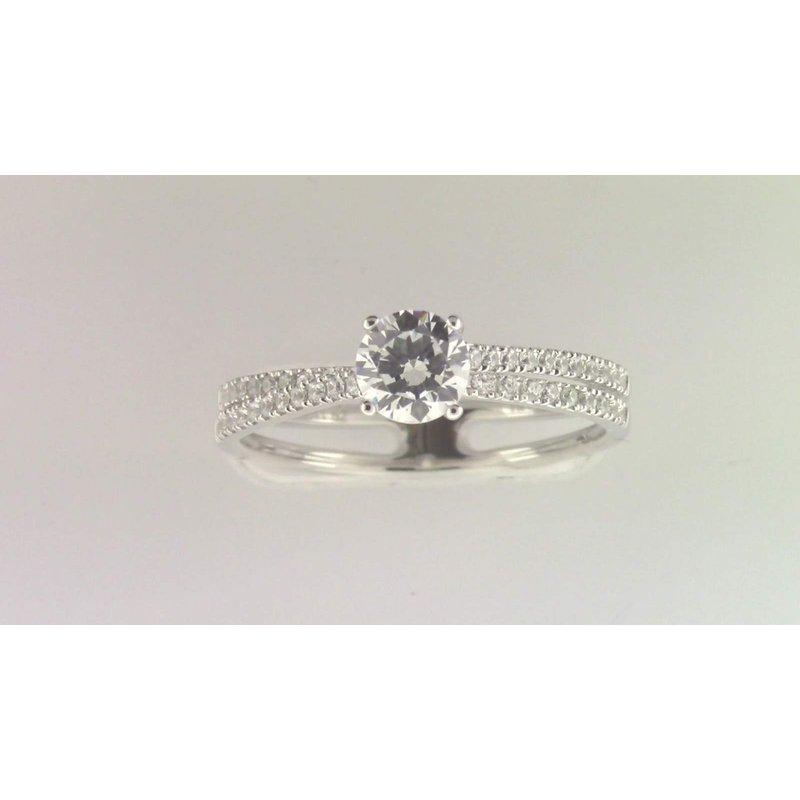 Zeghani Ladies' 14k White Gold 5 Mm CZ Stone Diamond Semi Mount Ring