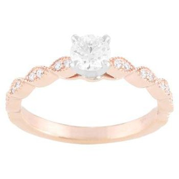Ladies' 14k White And Rose Gold Ring