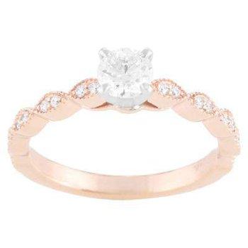 Ladies' 14k White And Rose Gold Ring