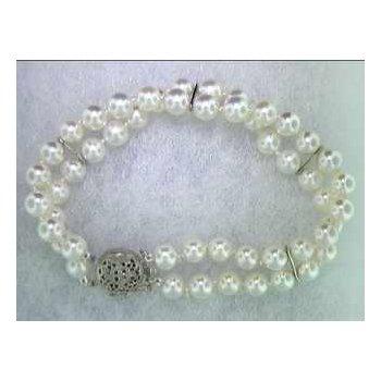 14k White Gold Pearl Bracelet