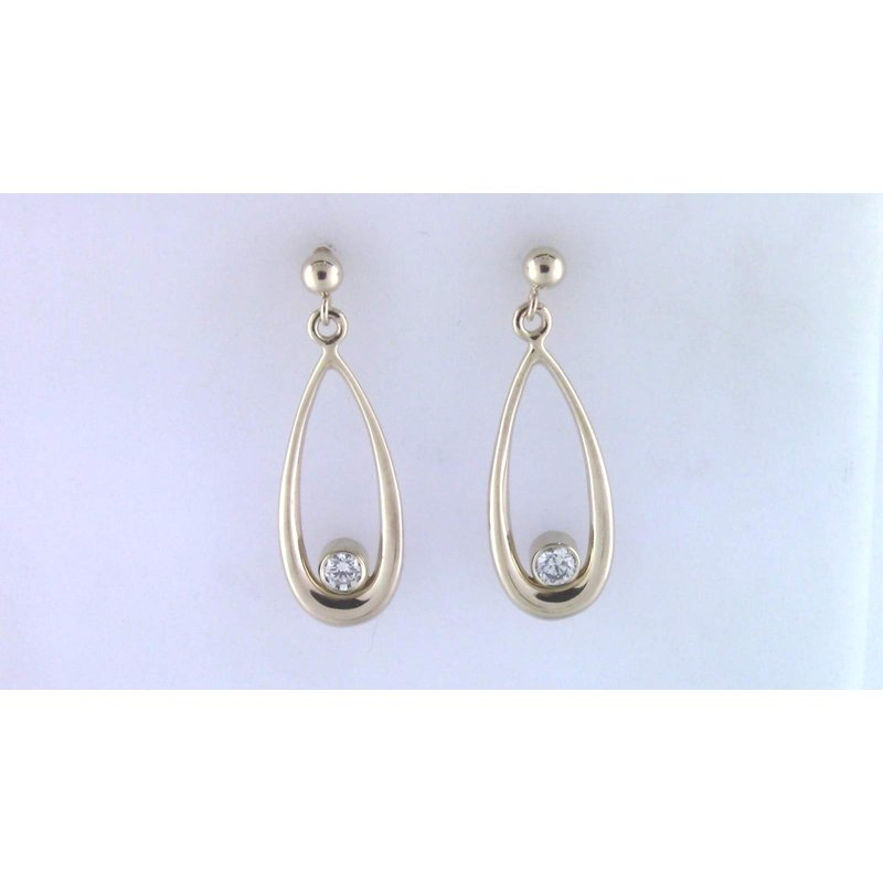 Pugh's Signature Ladies' 14k Yellow Gold Diamond Earrings