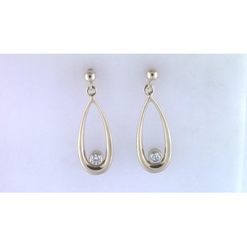 Ladies' 14k Yellow Gold Diamond Earrings