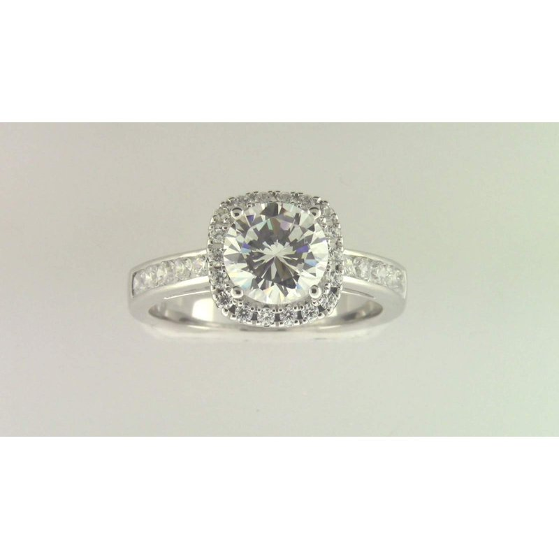 Zeghani Ladies' 14k White Gold 7 Mm CZ Stone Diamond Semi Mount Ring