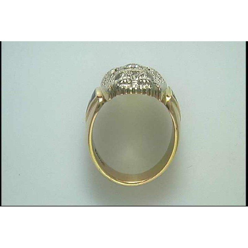 Pugh's Signature Gentlemans' 14k White And Yellow Gold Diamond Ring