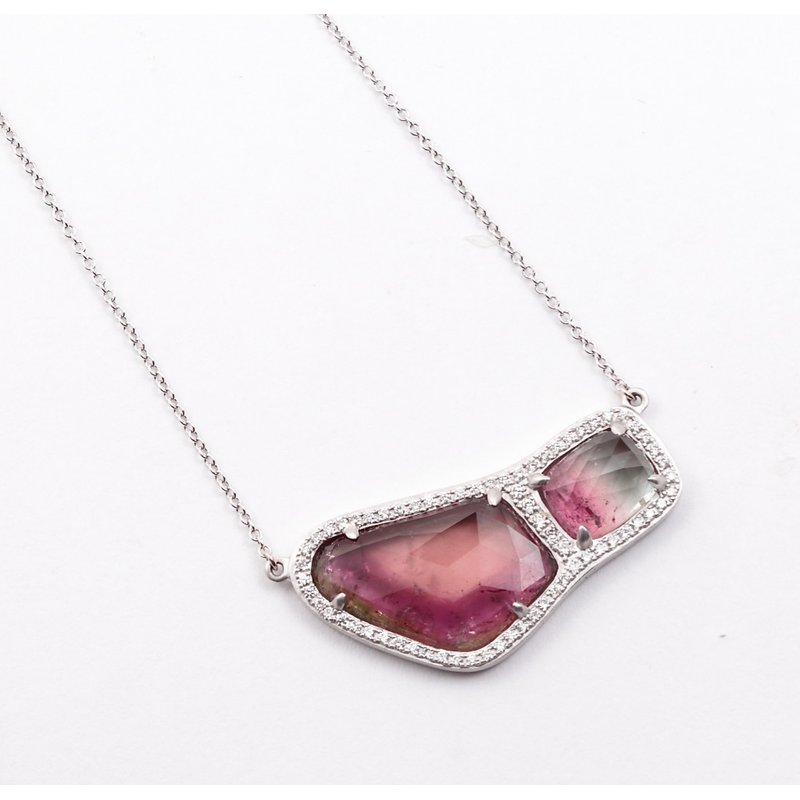 14k White Gold Watermelon Tourmaline Pendant