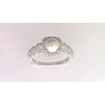 Ladies' 14k White Gold 6 Mm CZ Diamond Semi Mount Ring