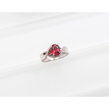 Ladies' 14k White Gold Red Spinel and Diamond Ring