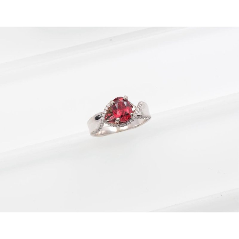 Zeghani Ladies' 14k White Gold Red Spinel and Diamond Ring