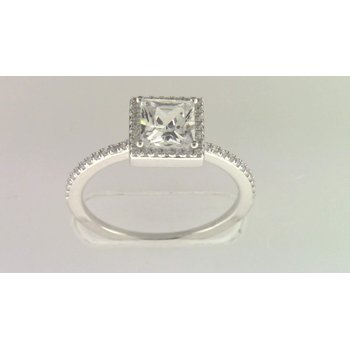 Ladies' 14k White Gold 5 Mm CZ Stone Diamond Semi Mount