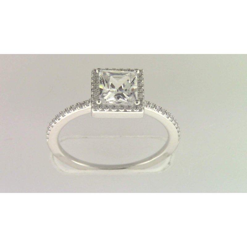 Zeghani Ladies' 14k White Gold 5 Mm CZ Stone Diamond Semi Mount