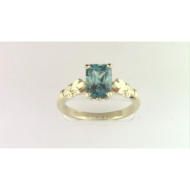 Pugh's Signature 14k Yellow Gold Blue Zircon Ring