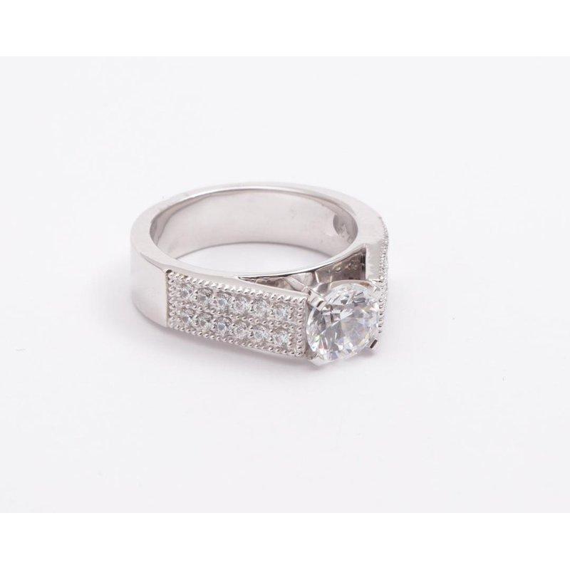 Pugh's Signature Ladies' 14k White Gold Cz Stone Ring