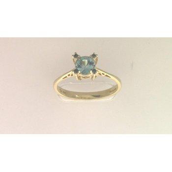 14k Yellow Gold Blue Zircon Ring