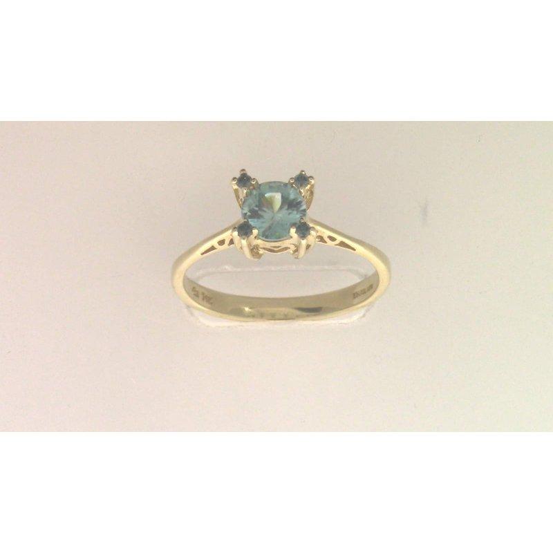 Pugh's Signature 14k Yellow Gold Blue Zircon Ring