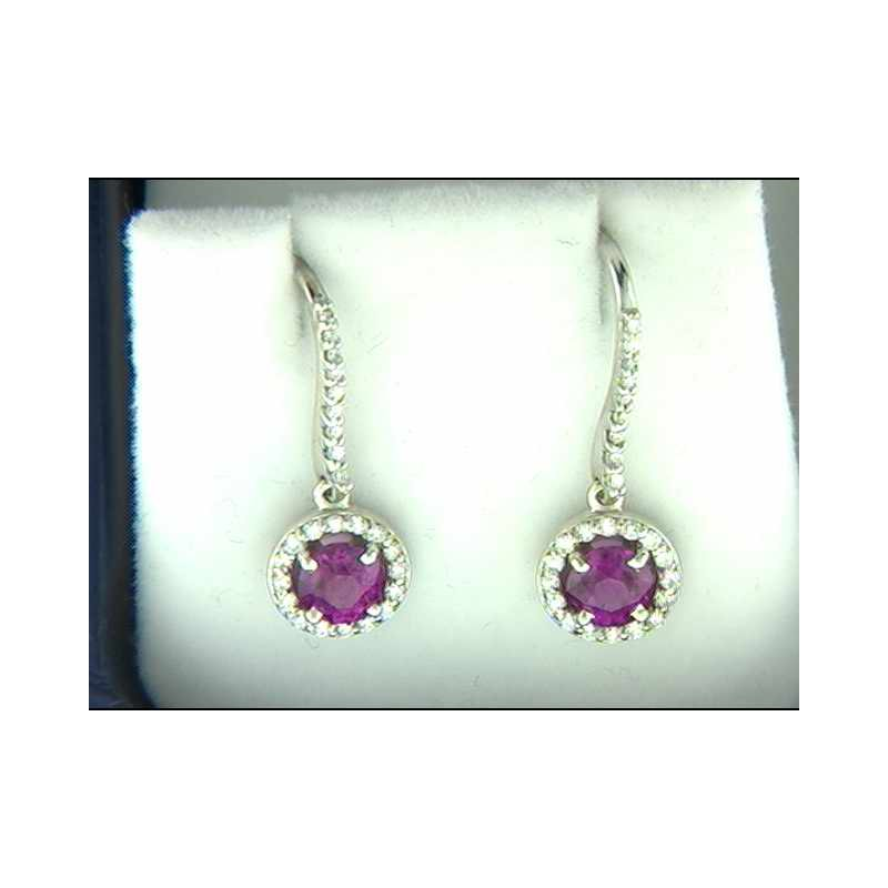 Pugh's Signature 14k White Gold Pink Sapphire Earrings