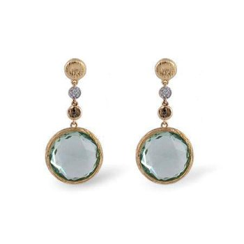 14k Yellow Gold Green Amethyst Earrings