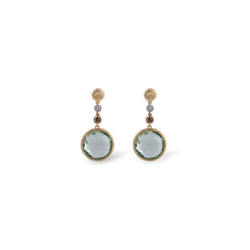 Allison-Kaufman 14k Yellow Gold Green Amethyst Earrings