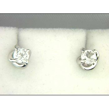 Ladies' 14k White Gold Created White Sapphire Earrings