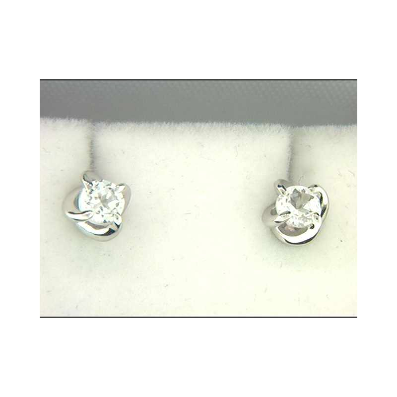 Ostbye Ladies' 14k White Gold Created White Sapphire Earrings