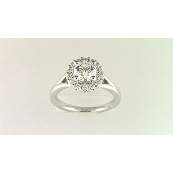 14k White Gold Cz Stone Semi Mount Ring