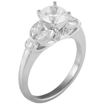 Ladies' 14k White Gold 6mm Cz Stone Ring