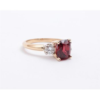 Ladies' 14k White And Yellow Gold Red Spinel Ring