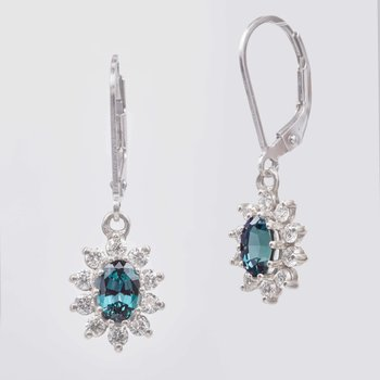 14k White Gold Colored Stone Earring