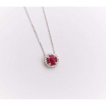 14k White Gold Ruby Pendant