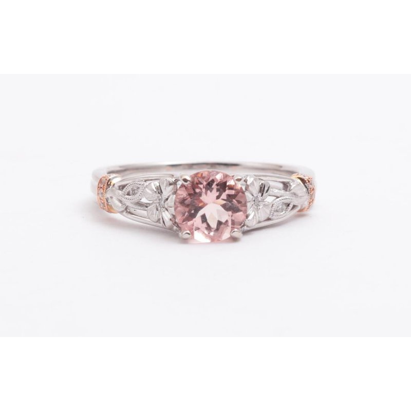 Zeghani Ladies' 14k White And Rose Gold Morganite and Diamond Ring