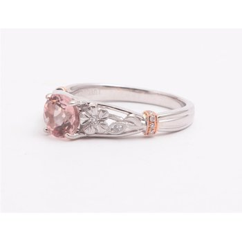 Ladies' 14k White And Rose Gold Morganite and Diamond Ring