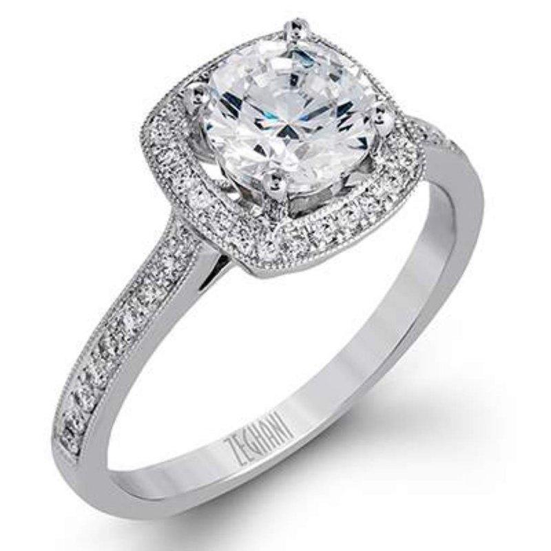 Zeghani Ladies' 14k White Gold CZ Stone Ring