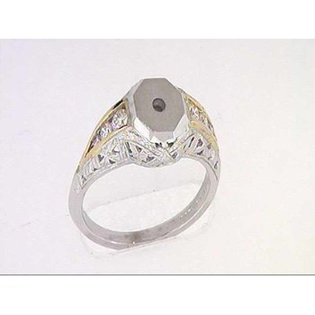 14k White And Yellow Gold Diamond Semi Mounting