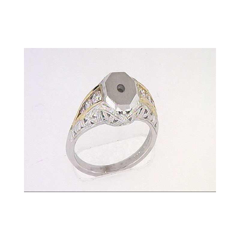Pugh's Signature 14k White And Yellow Gold Diamond Semi Mounting