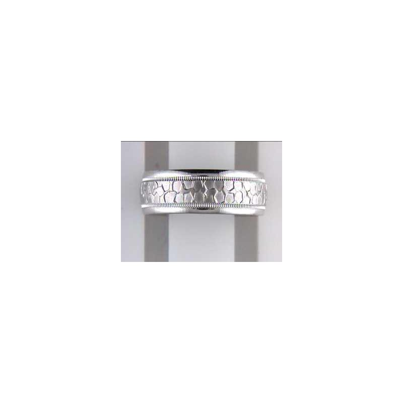 Pugh's Signature 14k White Gold Fancy Wedding Band