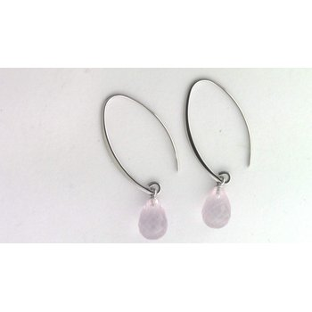 Sterling Rose Quartz Earrings